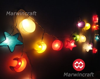 Battery or Plug 20 Moon Star Sun Multi Color Fairy String Lights Hanging Party Patio Wedding Garland Gift Home Living Bedroom Holiday Decor