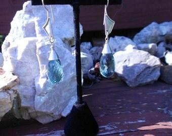 Bluegreen Quartz Briolette Earrings