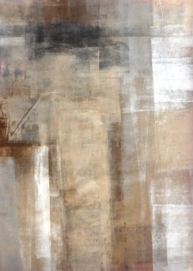 Acrylic Abstract Art Painting White Grey Brown And Black