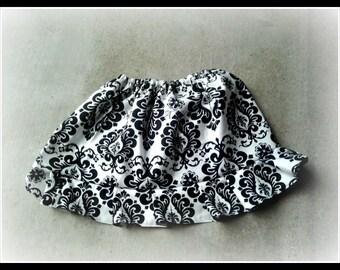 Damask Ruffle  Skirt Size NB, 3 6 12 24 months, sizes 2-9
