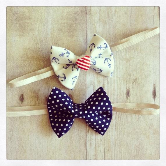 Sail Away nautical 4th of July summer baby bow headband/clip set