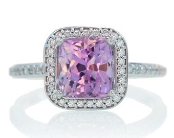 14 Karat White Gold Cushion Cut Halo Kunzite Engagement Ring Alternative Wedding Bridal Anniversary Jewelry