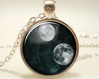 Full Moon Necklace, Cosmic Space Jewelry, Galaxy Pendant (1301S1IN)