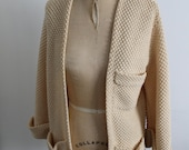 RESERVED 70s Eggshell Soft Wool Cardigan Sweater S M L