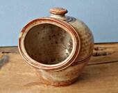 Stoneware studio pottery salt pot or salt pig
