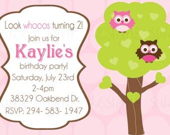 Pink Owl Birthday- Printable Invitation