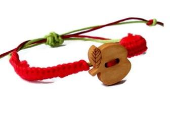 Apple Bracelet,Baby bracelet,Red apple,Hemp wish bracelet,Mommy and Me,Natural brown wood bead,Friendship Bracelet,Ecofriendly jewelry
