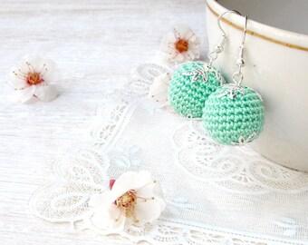 Earrings Green,Clip on earrings,Mint round earrings,Spring,Fresh Clip on earrings,Green mint,Tender earrings,Hand made gift