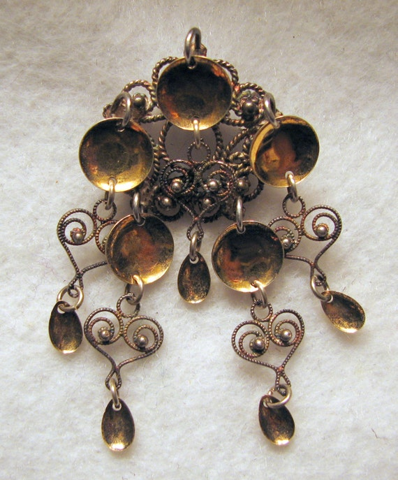 Reserved for Trine -- Vintage SOLJE  Brooch -- 925 Sterling Silver with Gold Accents -- 7.3g