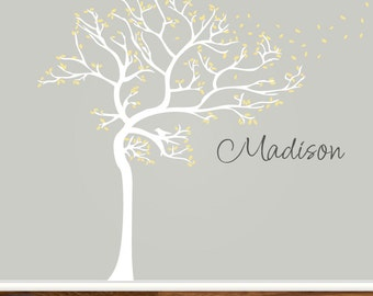 Custom Personalized Childrens Room Nursery Tree Decal Floating Leaves Branches Name Cute Girls Boys Infant Toddler Room