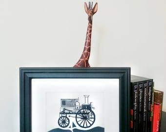 Machine à vapeur - Framed Linogravure