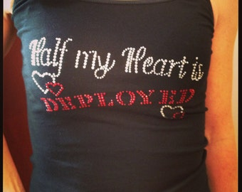 Clearance, Rhinestone Tank Size Medium Only, Half My Heart Is Deployed, Sparkle Tee,