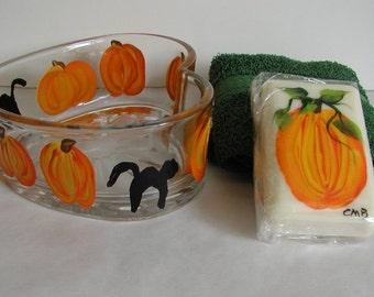 Handpainted Pumpkins & Cats Heart Dish Soap and Washcloth