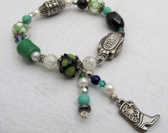 Lampwork Bracelet, Beaded Bracelet, Stretch Bracelet, Cowboy Charm Bracelet, Green Bead Bracelet, Gift for Her, Womens Jewelry, OOAK