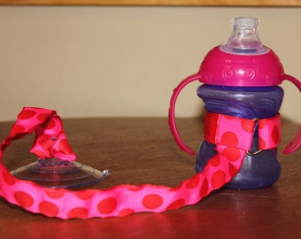 Sippy Cup Leash | Sippy Strap | Sippy Cup Strap Suction Cup | Bottle Tether | Sippy Cup Strap | Suction Sippy Strap | Hot Pink Dots