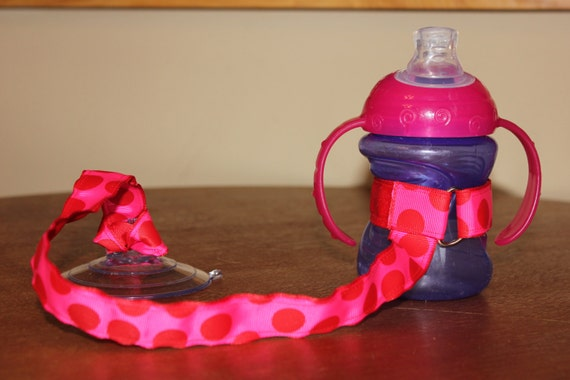 Bottle Tether, Toy Tether, Sippy Strap with Suction Cup-Hot Pink & Red Dots