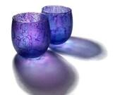 Violet Purple Candle Votive Tealight Holders Matched Set - dreamers3