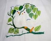 Love Birds Doves Embroidered Green Orange