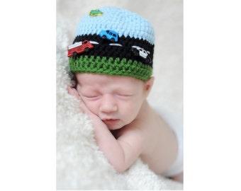 Crochet Car Hat - Road Roadway Hat - Boy Baby Shower Gift - Newborn Photo Prop - Crochet Baby Hat - Race Car - Highway - Construction