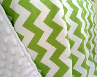 """Personalized Green Chevron Baby Blanket with White Minky, Boys and Girls, 29"""" x 35"""" Custom Embroidery, Car Seat Receiving Stroller Blanket"""