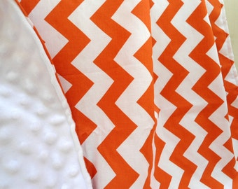 """Baby Blanket Personalized Orange Chevron with White Minky, Boys and Girls, 29"""" x 35"""" Custom Embroidery, Car Seat Receiving Stroller Blanket"""