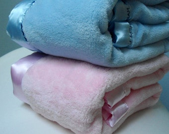 """Baby Blanket Personalize Microplush Satin Trim, Pink Blue White Receiving Stroller Car Seat Blanket,  36"""" x 45"""", Embroidery Baby Gift Idea"""