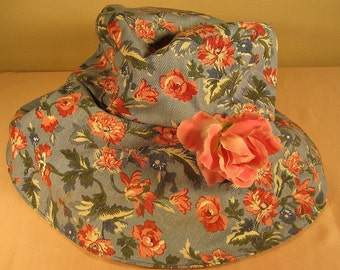 Easter Hat with Pink  Roses on Blue Denim