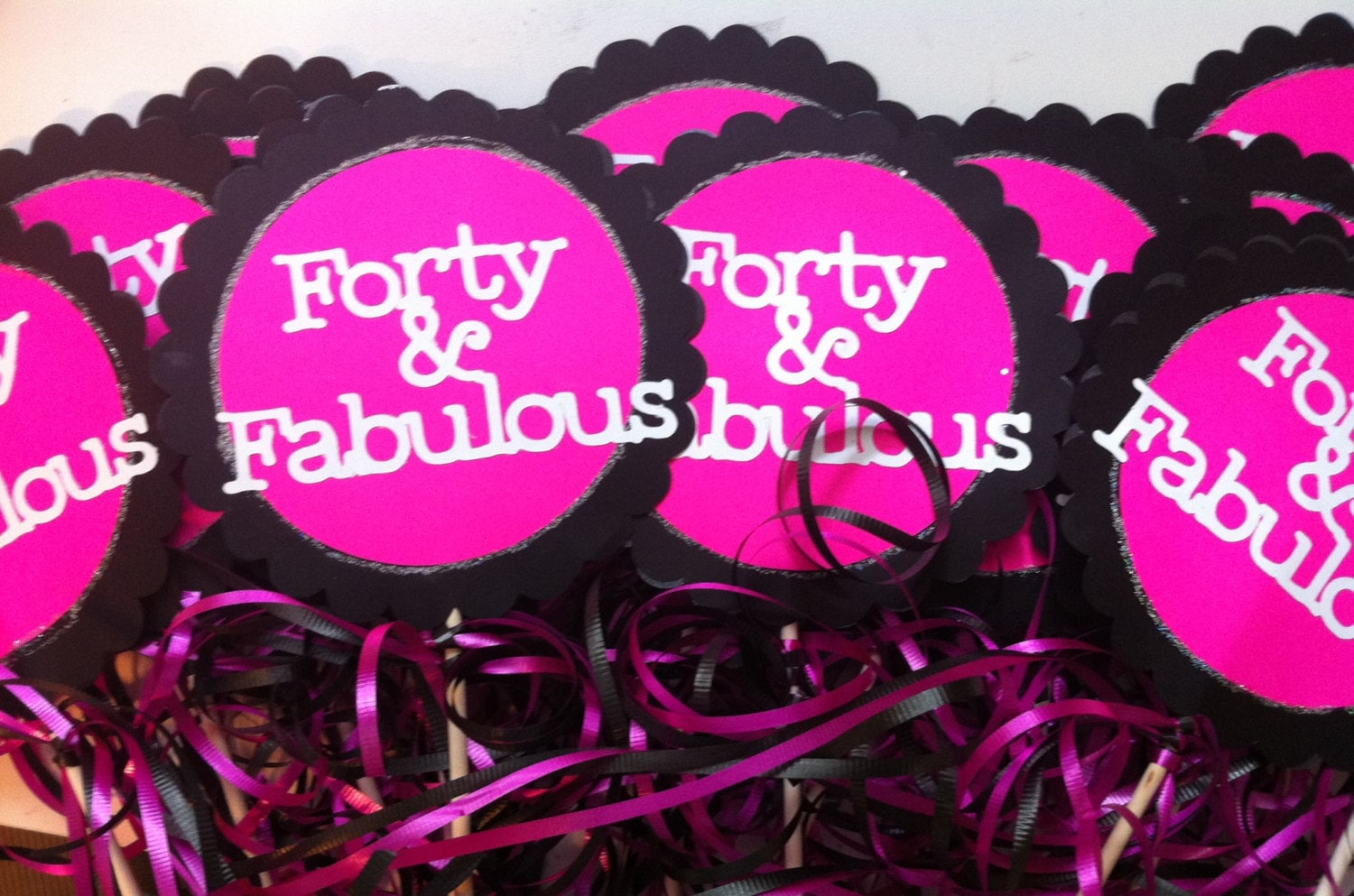 40th birthday centerpiece signs 40 and fabulous for 40th birthday party decoration