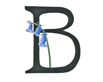 B is for Bluebell, Floral Alphabet, 5x7 or 8x10 print