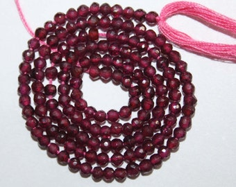 Natural AAA Quality Garnet 2 to 3mm Faceted Round Gemstone Beads 13 Inches FRD22