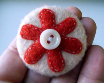 Felt Pin-Back Badge-Brooch with Red Flower