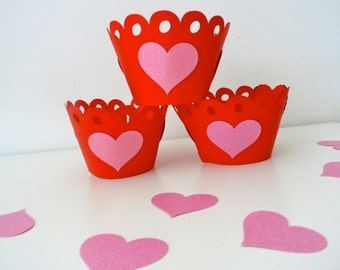 HEART CUPCAKE WRAPPER / Valentine's day / party / February 14 / Gift / Party decor