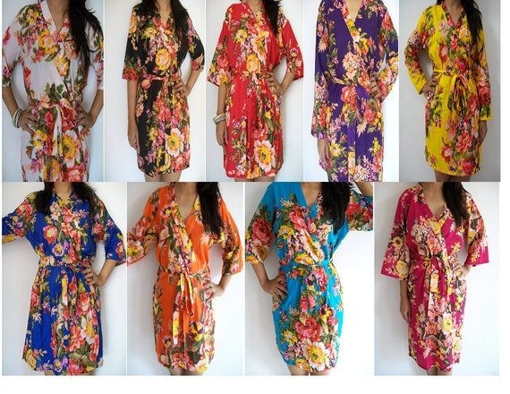 Set of 9 Floral Kimono Crossover patterned Robe, Bridesmaids Robes, Bridesmaids gift, getting ready robes, Bridal shower favors, baby shower