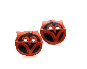 Handcrafted Orange Owl Earrings, Cute Owl Earrings, Upcycled Bike
