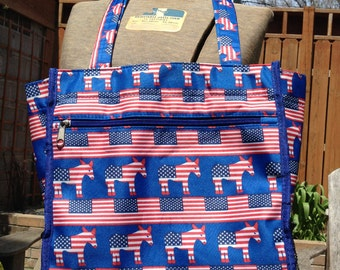 Patriotic Us Flag Red White and Blue Donkey bag/ tote Democratic Donkey Democratic Convention USA