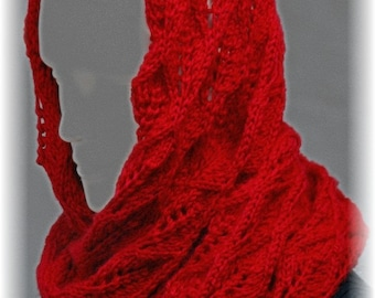 """Infinity Lace Scarf for ladies """"Clio Island"""", hand knit in chunky red Yarn"""