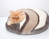 cat bed, felted cats cave, brown white, pets house