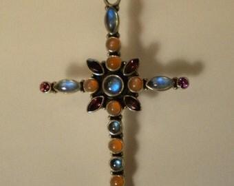 Sterling Silver Blue Topaz Rhodalite Garnet Blue Moonstone Orange Moonstone Cross Necklace