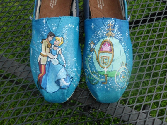 SALE Custom Painted Shoes Cinderella Prince Charming Pumpkin