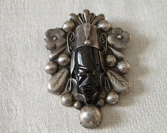 Vintage Mexican Carved Onyx Sterling Silver Brooch