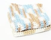 Crochet Large Natural Color Wash Cloths, set of 2