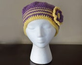 Very Stylish Handmade Gorgeous Beanie Knit Crochet Hat with Flower Soft Warm  -- FAST FREE SHIPPING