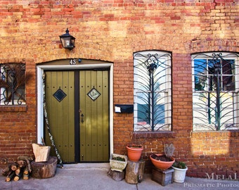 Green Door, Downtown Asheville, NC  Funky Doors & Alleys, Wrought Iron Windows, Witches Coven Mysterious Magical Gnome Hideout Chicken Alley
