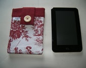 French Red Toile Tablet Sleeve Cover Pouch Handmade In France