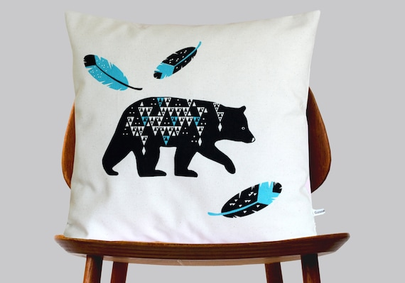 Scandinavian Retro bear geo feather blue black geometric triangle folk off white Cushion Cover