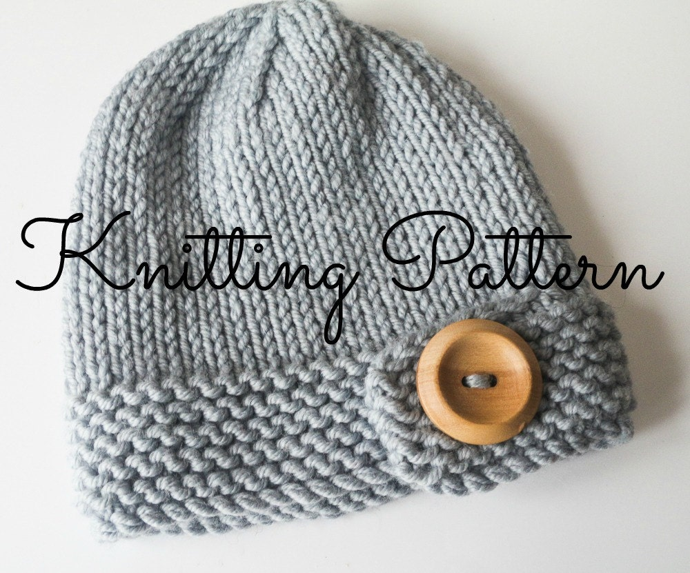 Knitting Pattern For Childs Beanie Hat : Chunky Button Baby Beanie Hat Knitting by BlueberryBarnDesigns
