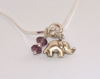 Tiny Sterling Silver Elephant with Amethyst Charm Necklace
