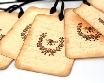 French Bee Gift Tags, Wedding tags Wishing tree, Vintage Inspired favor tags, french script, laurel wreath