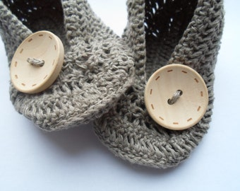 Linen Baby Girl Crochet Shoes, Baby Girl Gift, MADE TO ORDER