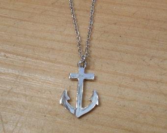 Tiny Silver Anchor Necklace - Anchor Necklace